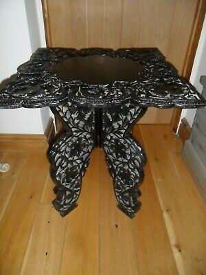 Antique Indian Hand Carved & Pierced Ebonised Occasional Table