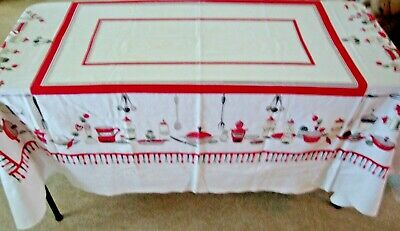 "Vintage Cotton Tablecloth White with Red and Black Kitchen Motif' 75"" x 58"""