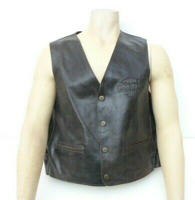 Harley Davidson motor cycles ride hard vintage gilet genuine leather original
