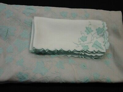 """Vintage Marghab 86"""" Round Tablecloth and 8 Napkins """"Ivy"""" Blue on Organdy,Linen"""