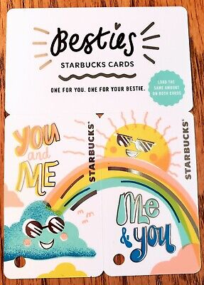 """Starbucks Gift Cards - 2 """"Besties"""" cards w/ $15 on each - Total $30 - NEW"""