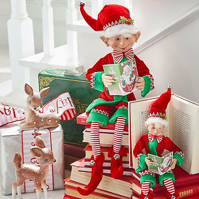 """16"""" Red & Green Posable Elf with Book CHRISTMAS Raz Imports 3902265 NEW Adorable"""