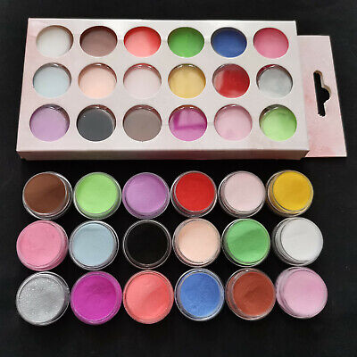18 x Mixed Colours Acrylic UV Gel Glitter Dust Powder Set for Nail Art Decor UK
