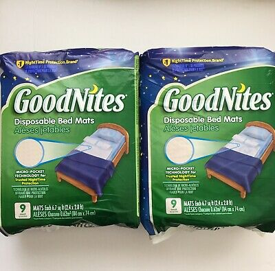 GoodNites Bedwetting Disposable Bed Mats 9 Count - Lot of 2