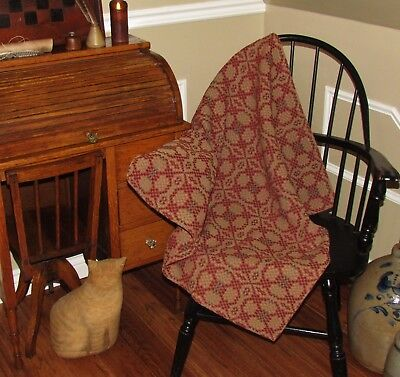 """Prim Antique Vtg Style Red Cotton Charleston Woven 32"""" COVERLET Square AQ78SS"""