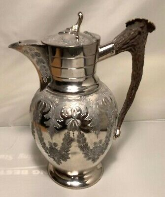 Vintage Silver Silver plate claret water jug With Antler Handle