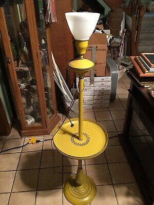 vintage 1940s style mustard yellow floor lamp with table