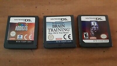 Nintendo Ds Games - 1 Vs 100, Brain Training And Telly Addicts- 3 Ds Game Lot
