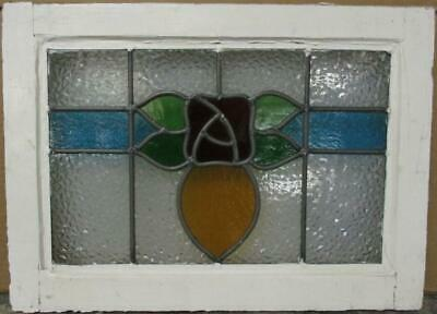 "OLD ENGLISH LEADED STAINED GLASS WINDOW Gorgeous Floral Design 20.25"" x 14.75"""