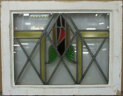 "OLD ENGLISH LEAD STAINED GLASS WINDOW Pretty Abstract Geometric 20.75"" x 16.25"""