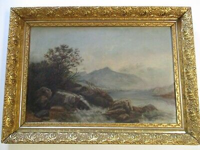Antique Large Hudson River Area Painting Landscape American 19Th Century Old