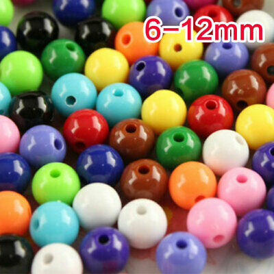 100pcs Round Acrylic Findings Spacer Loose Beads Craft Jewelry Making pk color