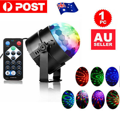 Sound Active RGB LED Stage Light Crystal Ball Disco Club DJ Party W/ Remote JO