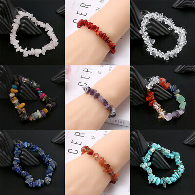 5-8mm Handmade Mixed Natural Stone Chip Beads Irregular Shaped Bracelet Bangles