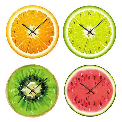 12inch Wall Clock Colored  Fruit Pattern Hanging Alarm Watch Home Decor