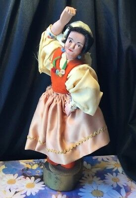 VINTAGE collectable bisque musical gypsy folk dancing revolving wooden doll