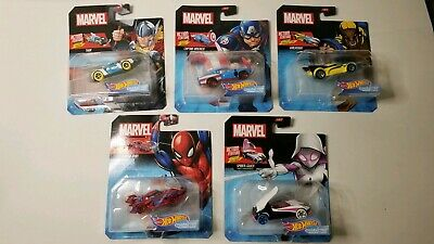 Marvel Hot Wheels Character Car ACTION SPIDER GWEN THOR WOLVERINE SET OF 5
