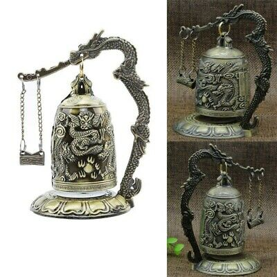 Retro Vintage Bronze Lock Dragon Carved Buddhist Bell Chinese Antique Crafts NEW