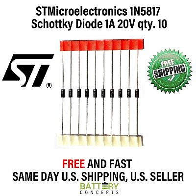 STMicroelectronics 1N5817 Schottky Barrier Diode 1A 20V qty.10 FREE SHIPPING