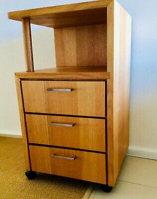 Office cabinet, solid timber on wheels
