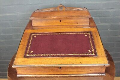 Antique Victorian Mahogany & Red Leather Clerks Bureau Desk Top Writing Slope