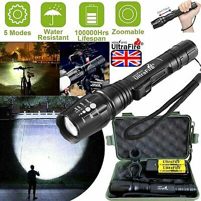 350000LM XML T6 LED Flashlight Rechargeable Zoom Torch Work Light Bike Headlamp
