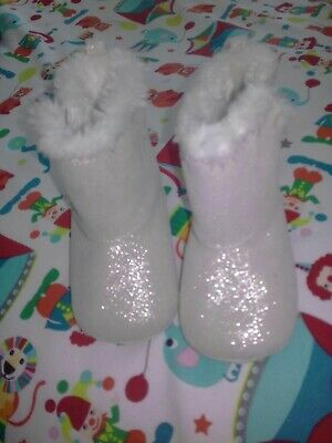 Baby Girls M&S Furry Lined Boots 6-12 Months sparkly silver Velcro fastening