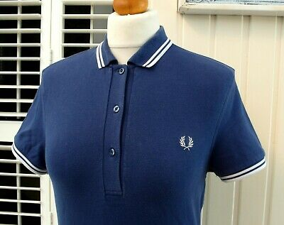 Fred Perry Women's Navy/White Twin Tipped Polo - UK 10/ EUR 38/ USA 4/ JAPAN 11