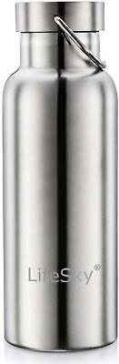 Stainless Steel Water Bottle Silver 17 oz Double Wall Vacuum Insulated LeakProof