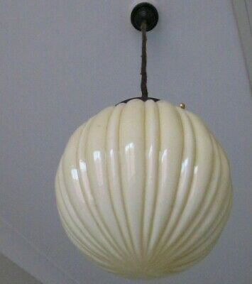 Art Deco retro antique vintage ribbed, cream milk glass pendant light 1930-40 's
