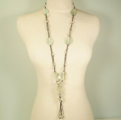 """35"""" Long Large Clear Glass Mixed Bead Bohemian Tassel Handmade Necklace"""