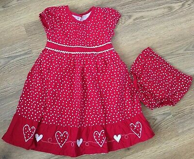 Baby Girls Red Polka Dot Dress And Knicker Set Age 12-18 Months Ex Con