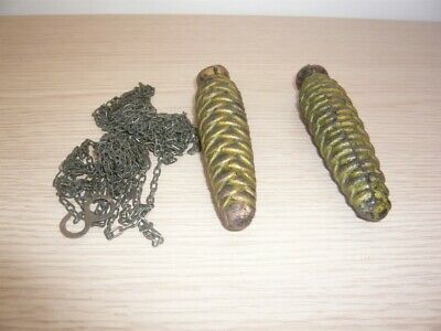 Pair Of Vintage Pine Cone Style Cuckoo Clock Weights With The Chain