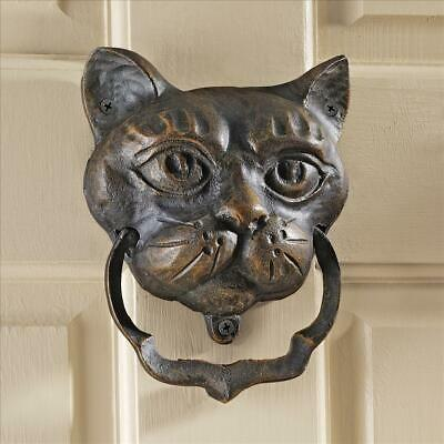 Door Knocker Black Cat Antique Cast Iron Authentic Traditional English Style