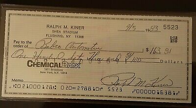 Ralph Kiner Signed Personal Check