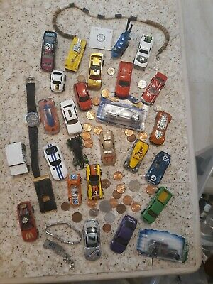 Vintage to New Junk Drawer Lot Coins, Die Cast, Nascar, Jewelry, More