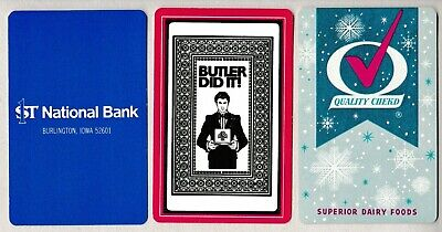 1st National Bank,Superior Dairy,Jokers, Ads 3 single vintage swap playing cards
