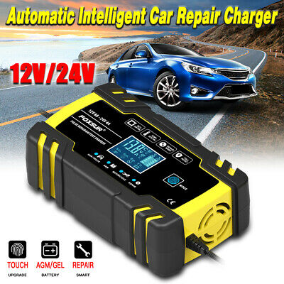 12V/24V Automatic Smart Intelligent LCD Car Battery Charger Pulse Repair Starter