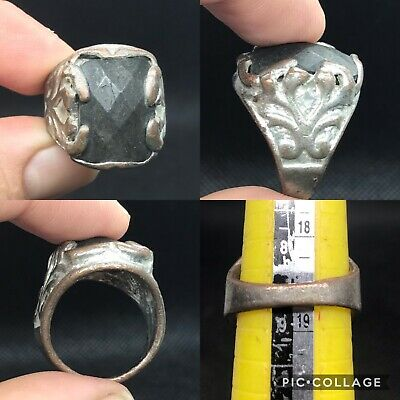 wonderful unique post medieval old justbur stone ring