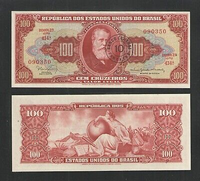BRAZIL 1966-67 10 Cent on 100 Cruzeiros P185a UNCIRCULATED