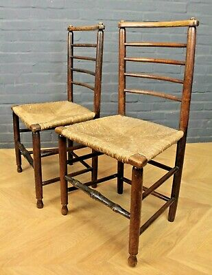 Pair of Victorian Elm & Rush Seated Ladder Back Farmhouse Dining Kitchen Chairs