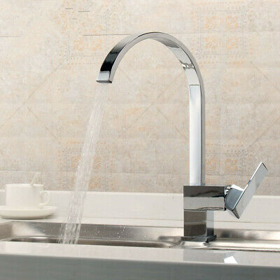 Kitchen Faucet Sink Waterfall Mixer Tap Brass Chromed Single Hole Handle Tap
