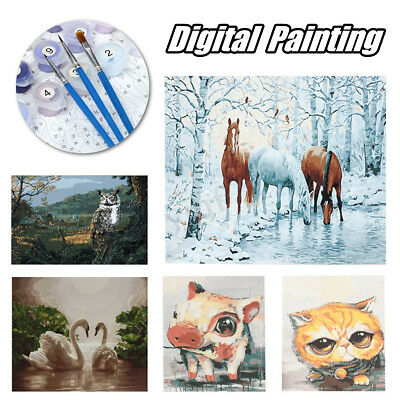 Frameless Animal Digital Acrylic Paint By Numbers Kits DIY Canvas Oil Painting
