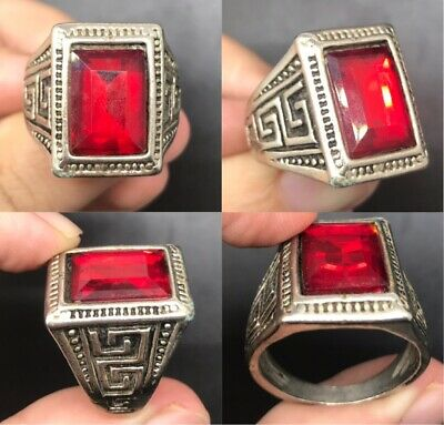 Old silver rare unique old ring with natural red glass stone