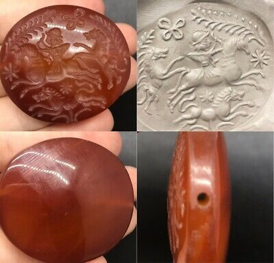 Beautiful old agate with hunting king intaglio with horse lovely bead