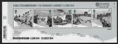 2019 D-Day 75th Anniversary The Normandy Landings u/m stamp mini sheet Stampex