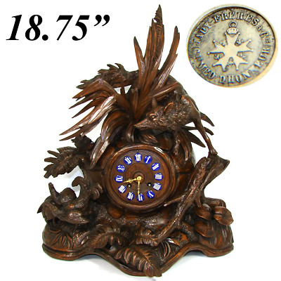 "Museum Antique HC Black Forest Mantel Clock, 18.75"" Tall, Japy Freres, Fox, Hens"