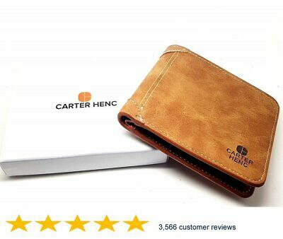 Mens Luxurious CARTER HENC 100% Genuine Leather Wallet * GREAT XMAS GIFT -BROWN