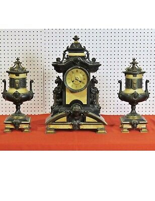 Antique Mid-19Th Century 3 Piece Victorian Bronze And Marble Clock Set With Grif