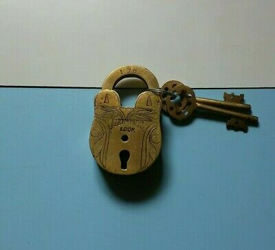 Vintage Antique Brass Padlock Lock - with key